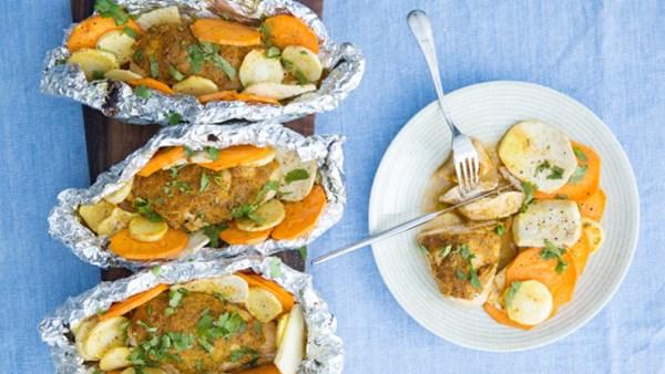 Asiatiskt kycklingpaket med sötpotatis